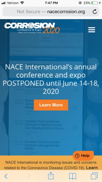 NACE 2020 Postponement