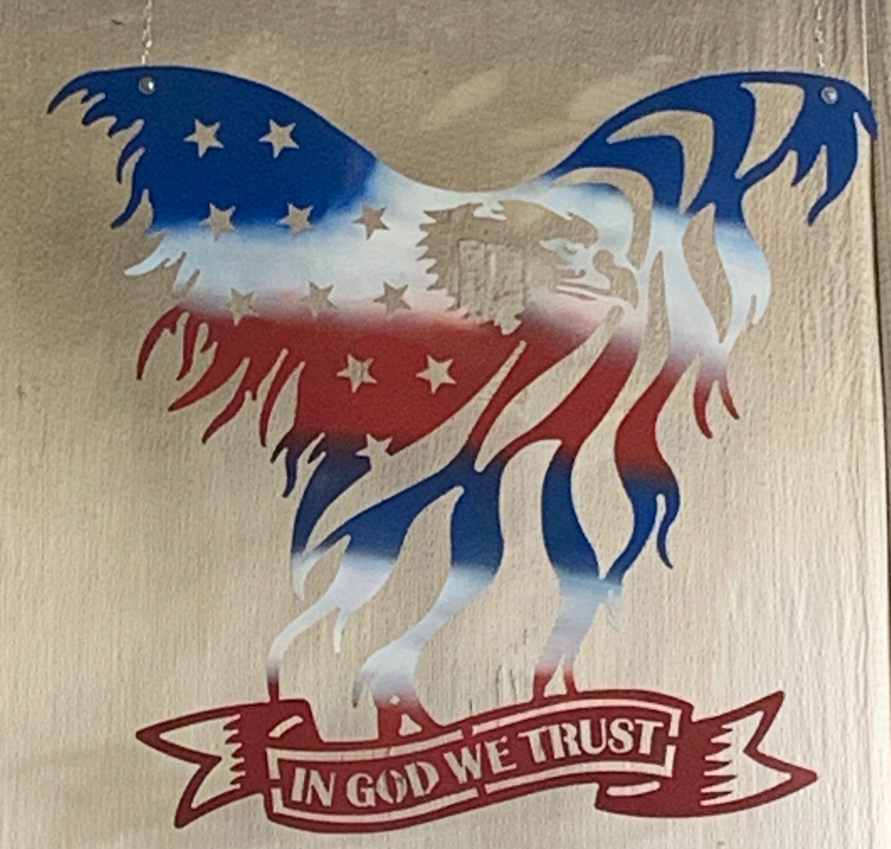 hi-def plasma cut eagle with spray paint